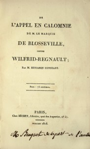 First edition of the work for the defense of Wilfrid Regnault, by Benjamin Constant.