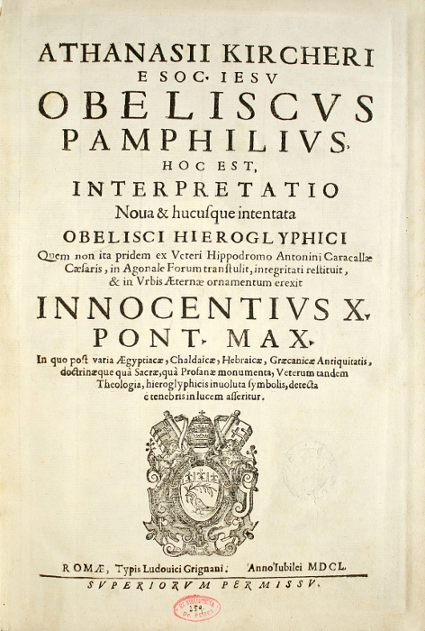 KIRCHER-Athanase-Obeliscus-Pamphilius-hoc-est-interpretatio--Superb-copy-preserved-in-its-